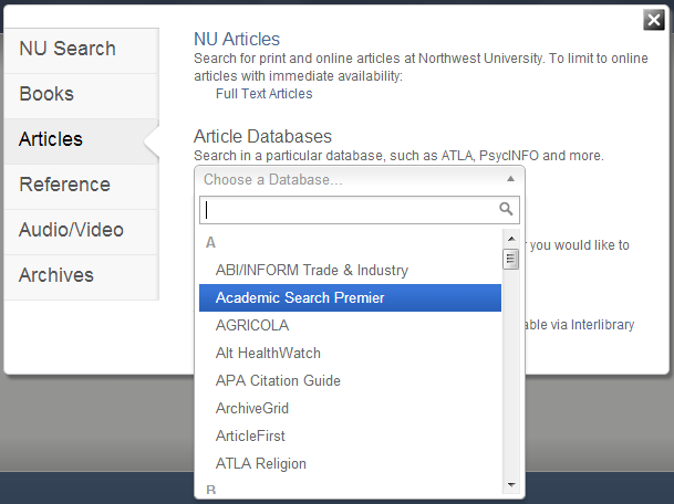 Article Databases Menu