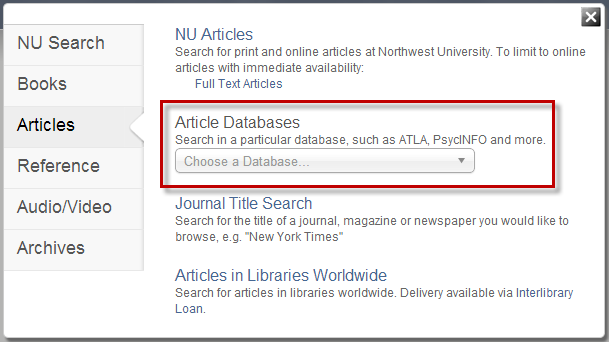 Search Option - Article Dabatases