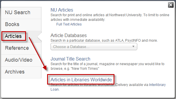 Search Option - Articles Worldwide
