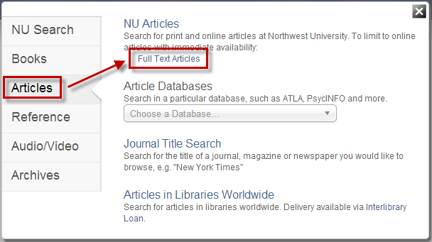 Search Option - Full Text Articles