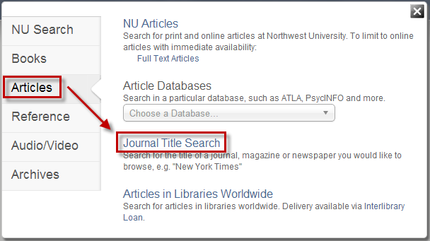 Search Option - Journal Title Search