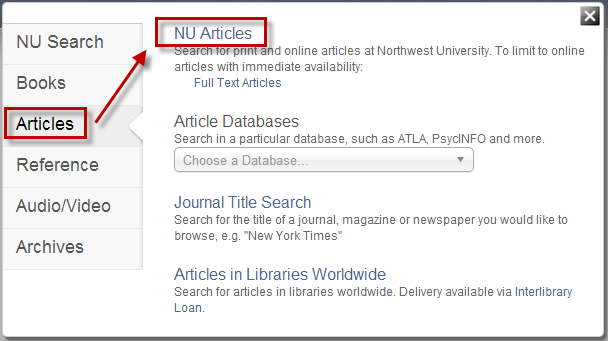 Search Option - NU Articles