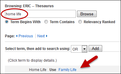 ERIC Thesaurus Home Life