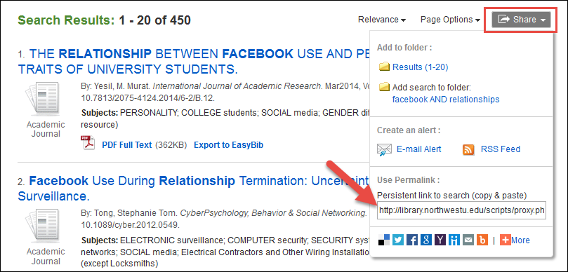 Search Results Permalink - EBSCO